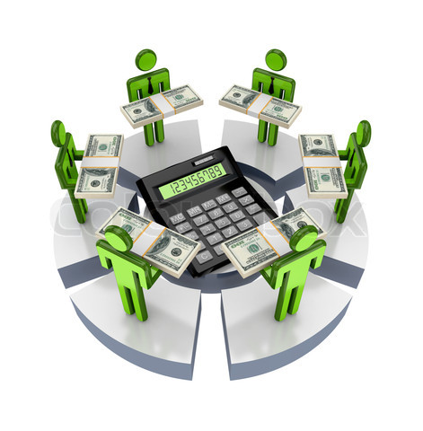 3d small people around large calculator.Isolated on white background.