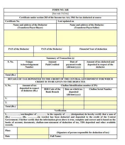 Form 16B | How to deposit TDS under section 194-IA